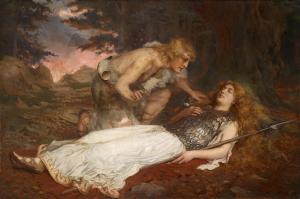 Siegfried se penche sur Brunnhilde endormie à même le sol.