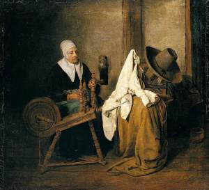 Une femme file la laine