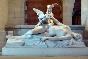 Un démon se penche sur une femme endormie.
