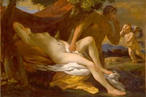 Zeus sous l'apparence d'un satyre s'approche d'Antiope endormie.