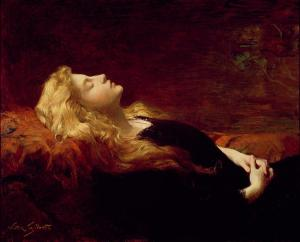 Une femme repose sur un lit, les mains croisées sur son ventre.