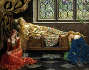 La Belle au bois dormant est étendue sur un lit, vêtue d'une magnifique robe.