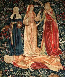 Les trois Moires filent de la laine au-dessus du corps d'une femme morte.