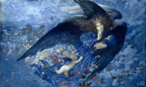 La Nuit avec son cortège d'étoiles dans un tableau peint par Edward Robert Hughes (1857 - 1914).