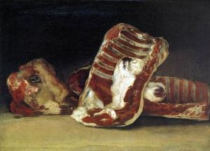 Tête de mouton et morceaux de viande sur un tableau de Francisco Goya peint entre 1808 et 1812