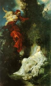 Blanche-Neige est endormie au pied d'un rocher. La sorcière s'enfuit alors que les nains voient la scène avec désolation, dans un tableau de Hans Makart peint en 1872.