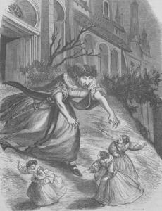 Une ogresse poursuit des jeunes filles sur une gravure illustrant un recueil de contes