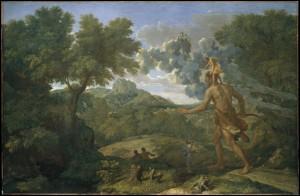 Le géant Orion, aveugle, portant un personnage sur ses épaules qui le guide, marche en fixant le soleil, sous le regard de la déesse Artémis.