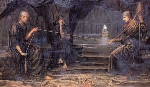 Trois femmes d'âges différents représentant les âges de la vie filent et coupent le fil de la vie dans un tableau peint en 1885 par John Melhuish Strudwick.