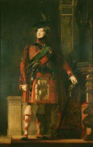 Portrait du roi George IV en kilt pendant sa visite en Ecosse en 1822 peint par Sir David Wilkie. Le souverain porte le tartan royal des Stuart, des chaussettes rouges et beiges ainsi que l'écharpe verte de l'ordre de l'Ordre du Chardon.