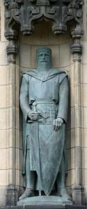 Statue de William Wallace sculptée par Alexander Carrick en 1929 et placé à droite de la porte du château d'Edimbourg