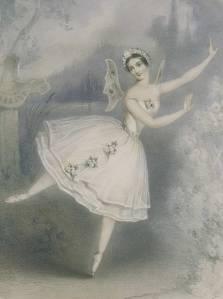 Sur cette lithographie d'un auteur inconnu, on voit un portrait de la ballerine Carlotta Grisi costumée en Giselle, lors d'une représentation à Paris en 1841. Vette lithographie est tirée de : Ivor Guest, The Romantic Ballet in Paris