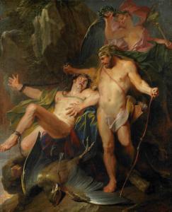 Dans cette peinture exécutée en 1703 par Nicolas Bertin, un artiste qui a vécu entre 1667 et 1668–1736, le héros Hercule délivre Prométhée.