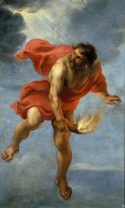 Dans cette peinture exécutée en 1637 par Jan Cossiers, un artiste qui a vécu entre 1600 et 1671, Prométhée porte une torche enflammée à travers un ciel nuageux..