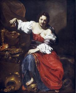 Dans cette peinture exécutée en 1626 par Nicolas Régnier, un artiste qui a vécu entre 1588 et 1667, Pandore, présentée comme l'allégorie de la vanité, ouvre une jarre.