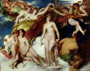 Dans cette peinture exécutée en 1824 par William Etty, un artiste qui vécut entre 1787 et 1849, Pandore est couronnée par des déesses appelées les Saisons.