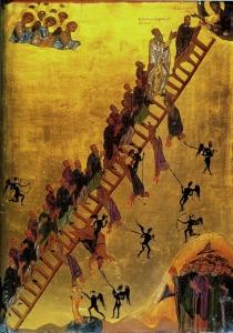 L'Échelle sainte, icône du 12ème siècle, Monastère Sainte-Catherine, Sinaï (Cette icône illustre le traité d'ascétisme monastique écrit vers 600 ap. J.-C. par Jean Climaque; Wikimedia Commons)