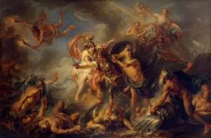 Dans ce tableau de Charles Antoine Coypel (1694–1752), intitulé La colère d'Achille et peint 1737, Achille en colère est entouré par des dieux grecs, parmi lesquels on reconnaît Athéna, Poséidon et Héra.