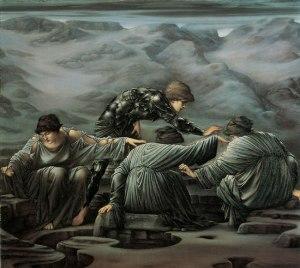 Dans ce tableau d'Edward Burne-Jones (1833–1898), intitulé Persée et les Grées, et peint en1882, Persée se trouve au milieu de trois femmes, les Grées, et essaie de leur prendre leur oeil unique.
