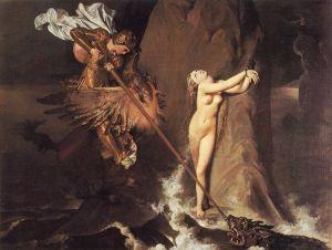Dans ce tableau de Jean Auguste Dominique Ingres (1780–1867), intitulé Roger délivrant Angélique et peint en 1819, Roger délivre Angélique d'un monstre marin. La scène, tiré du roman Roland Furieux de l'Arioste, rappelle l'histoire d'Andromède délivrée par Persée.