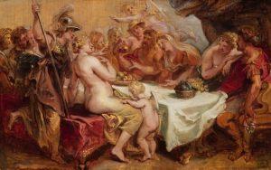 Dans ce tableau de Pierre Paul Rubens (1577–1640) peint en 1636, on voit les dieux de l'Olympe assis à la table du banquet. Hermès tient la pomme de la discorde. Athéna, Aphrodite et Héra sont présentes.
