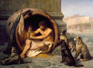 Cette peinture de Jean-Léon Gérôme (1824–1904), réalisée en 1860, montre le philosophe grec Diogène assis dans une grande jarre en céramique.