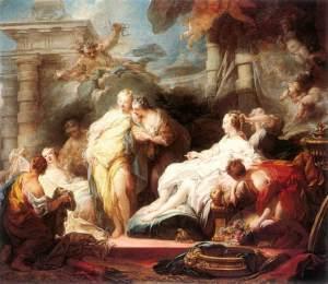 Dans cette peinture de Jean-Honoré Fragonard (1732–1806), réalisée en 1753, on voit Psyché montrant à ses sœurs les cadeaux de Cupidon