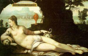 Dans cette peinture de Jean Cousin, intitulée Eva Prima Pandora et réalisée vers 1550, on voit une femme presque nue couchée avec une jarre et une pomme.