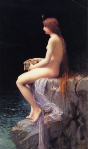 Dans cette peinture de Jules Lefebvre (1834-1912), intitulée La boîte de Pandore et réalisée en 1882, on voit Psyché hésitante, une boîte sur les genoux.