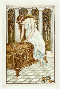 Walter Crane (1845-1915), Pandora and the forbidden box, illustrant l'ouvrage de Nathaniel Hawthorne, Wonder Book for Girls & Boys, 1892