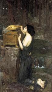 Dans cette peinture de Johm William Waterhouse (1849–1917) représentant Pandore et peinte en 1896, on voit une femme ouvrant un coffre.