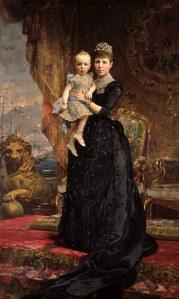 Antoni Caba (1838–1907), Marie-Christine d'Autriche, reine douairière et régente d'Espagne, portant le roi Alphonse XIII, 1890, Reial Acadèmia Catalana de Belles Arts de Sant Jordi