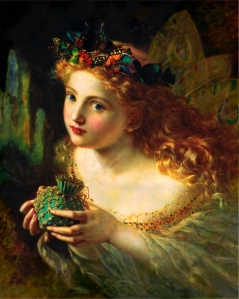 Fée peinte par Sophie Gengembre Anderson (1823–1903), Take the Fair Face of Woman, and Gently Suspending, With Butterflies, Flowers, and Jewels Attending, Thus Your Fairy is Made of Most Beautiful Things
