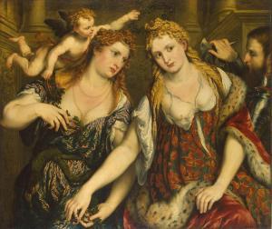 Paris Bordone (1500–1571), Vénus, Flore, Mars et Cupidon (Allégorie), vers 1550, Musée de l'Ermitage