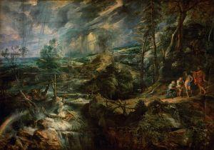 Pierre Paul Rubens (1577–1640), Paysage en pleine tempête avec Philemon et Baucis, vers 1620-1625