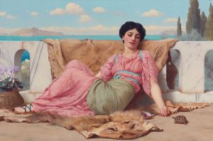 John William Godward (1861–1922), L'animal de compagnie tranquille, 1906