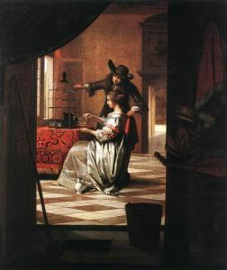 Pieter de Hooch, Couple avec perroquet, 1668, Wallraf-Richartz Museum, Cologne, Germany