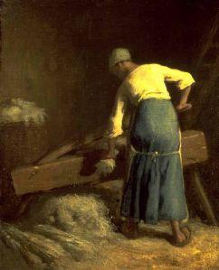 Jean-François Millet  (1814–1875), Briser le lin, entre 1850 et 1851, Walters Art Museum