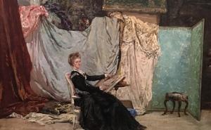Georges Clairin (1843-1919), Marcello dans son atelier de Givisiez, 1871
