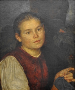 Hans Thoma (1839–1924), Portrait de la soeur de l'artiste, Agathe, âgée de 15 ans, 1863, Alte Nationalgalerie