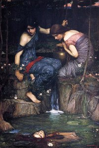 John William Waterhouse  (1849–1917), Nymphes découvrant la tête d'Orphée, 1900