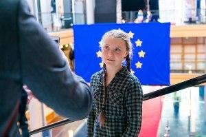 Greta Thunberg au Parlement européen le 16 avril 2019  Source de la photo : Parlement européen